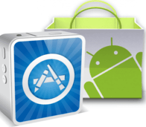 appstore logo et sac avec logo android
