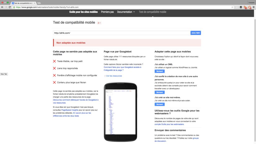capture ecran test de compatibilite mobile