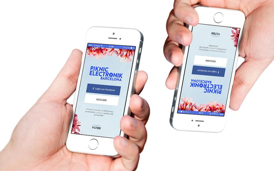 mains tiennent iphone avec application festival