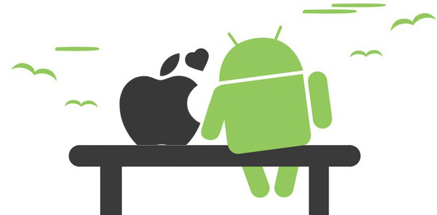 logos apple et android sur un banc illustration