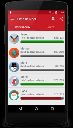 smartphone interface liste cadeaux