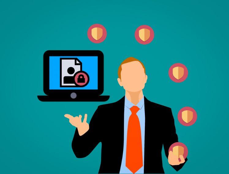 illustration homme securise ses informations digitales