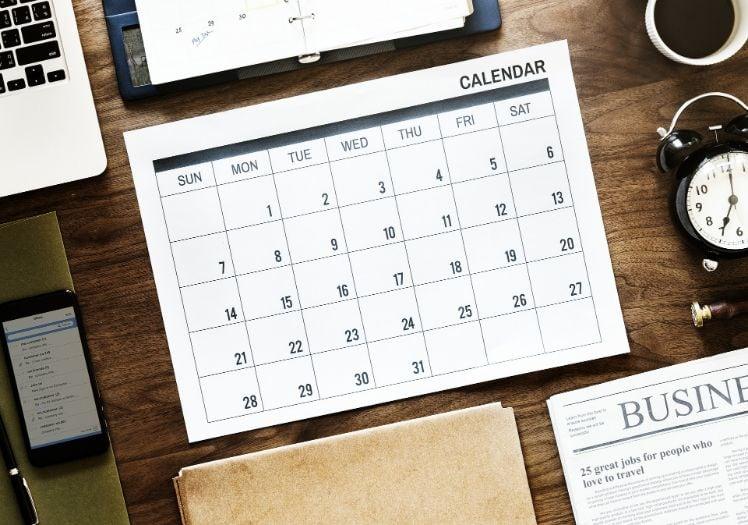 calendrier sur bureau