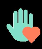 icône de main et coeur