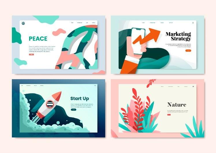 exemple de landing page avec 4 designs