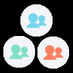 icône de trois équipes de trois personnes