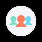 icône de équipe de trois personnes différentes