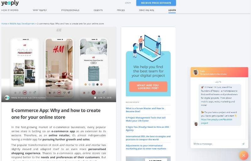 Chatbot ia sur le site de yeeply